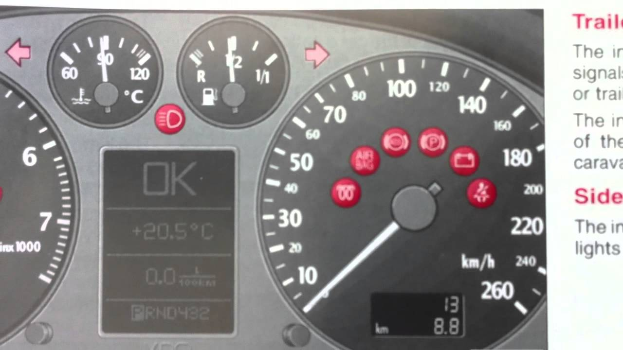 audi a6 c5 dashboard warning lights symbols what they mean youtube rh youtube com 2004 Audi RS6 Plus 2004 Audi RS6 Avant