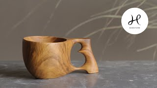 ③Making a wooden cup .     Kuksa carving     #woodworking
