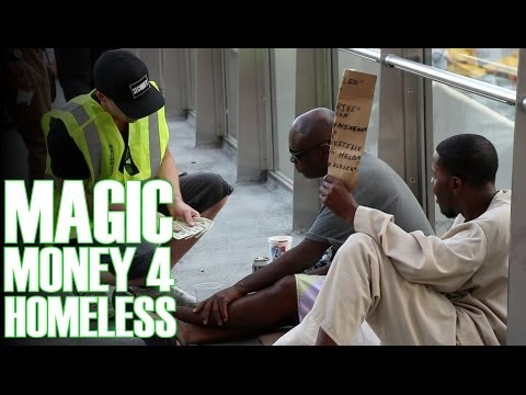 Money Magic Tricks For Homeless! (Security Guard Prank)