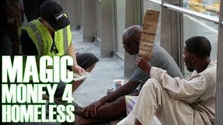 Money Magic Tricks For Homeless! (Security Guard Prank)