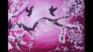 Видео-урок рисования. Рисуем веточку сакуры, восход солнца и поющих птиц