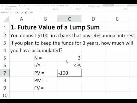Future Value of a Lump Sum using Excel