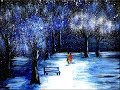 Spray Painting - Romantic Couple Walking On The Snow - Acrylics
