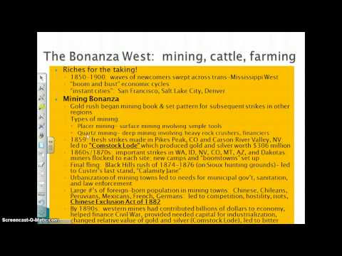 Settlement Of The West:   Miners  Ranchers  And Farmers