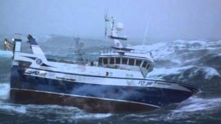 Terrifying images of fishing boat battered by 30ft waves in the far North Sea