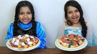 السا ضد انا ! تحدي البيتزا  !!! Elsa vs ...
