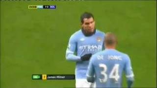 Angry Tevez protests his substitution with Mancini
