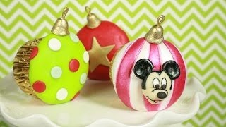 Mickey Mouse Christmas Ornament Cupcakes (how-to)-12 Days Of Christmas
