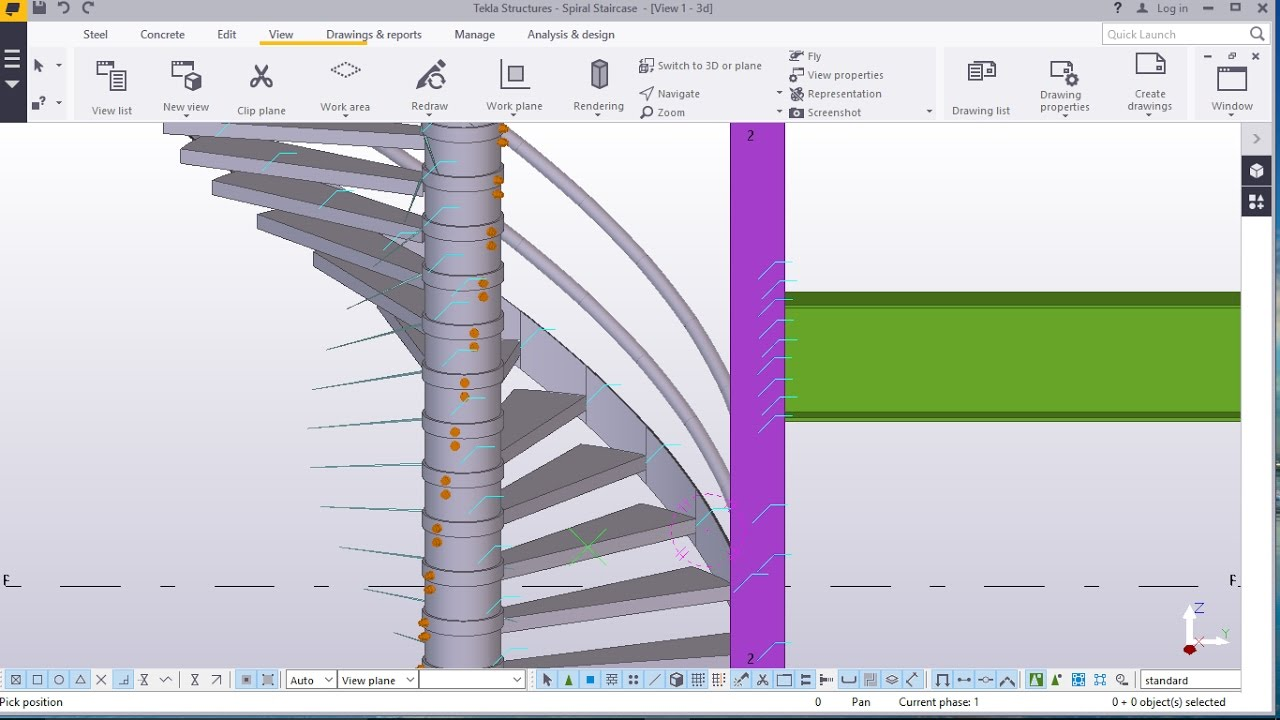 How To Create Spiral Staircase In Tekla Structures Youtube
