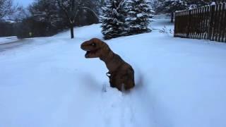 T-Rex shoveling the neighbor's driveway