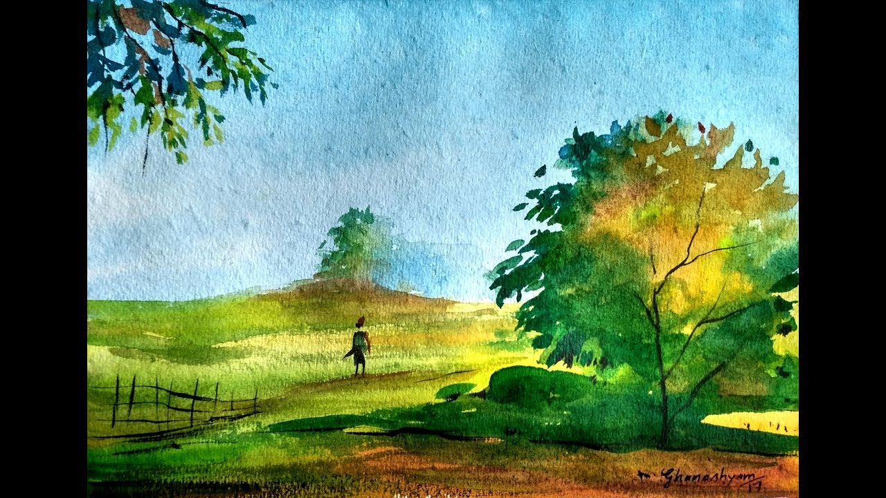 how to draw simple landscape painting in watercolor paint with david
