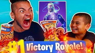 1 KILL = EXTREME FLAMING HOT CHEETOS WITH NO WATER CHALLENGE! *I ALMOST DIED* FORTNITE 9 YR OLD KID!