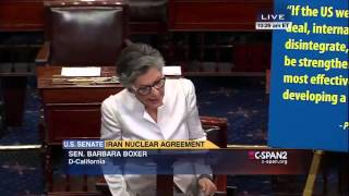 Iran Senate Debate, Barbara Boxer, 9/9/2015