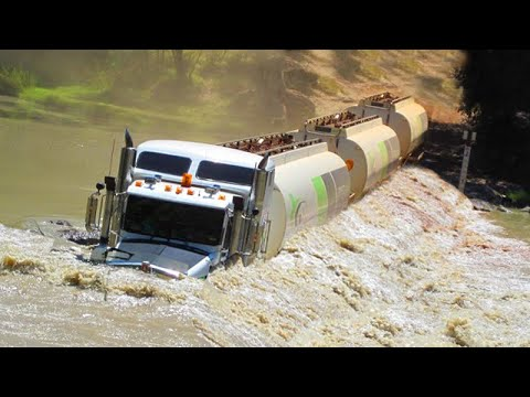 Extremely Dangerous Trucks Crossing Flooded Rivers and Wooden Bridges