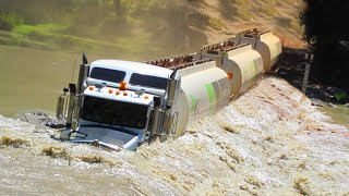 Gambar cover Extremely Dangerous Trucks Crossing Flooded Rivers and Wooden Bridges