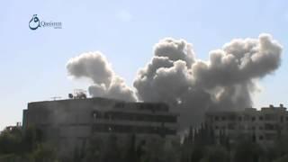ريف دمشق   زملكا 6 12 2015 لحظة أستهداف المدينة بالصواريخ الروسية الموجهة