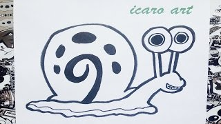 Como dibujar a gary bob esponja | how to draw gary | como desenhar o gary de bob esponja