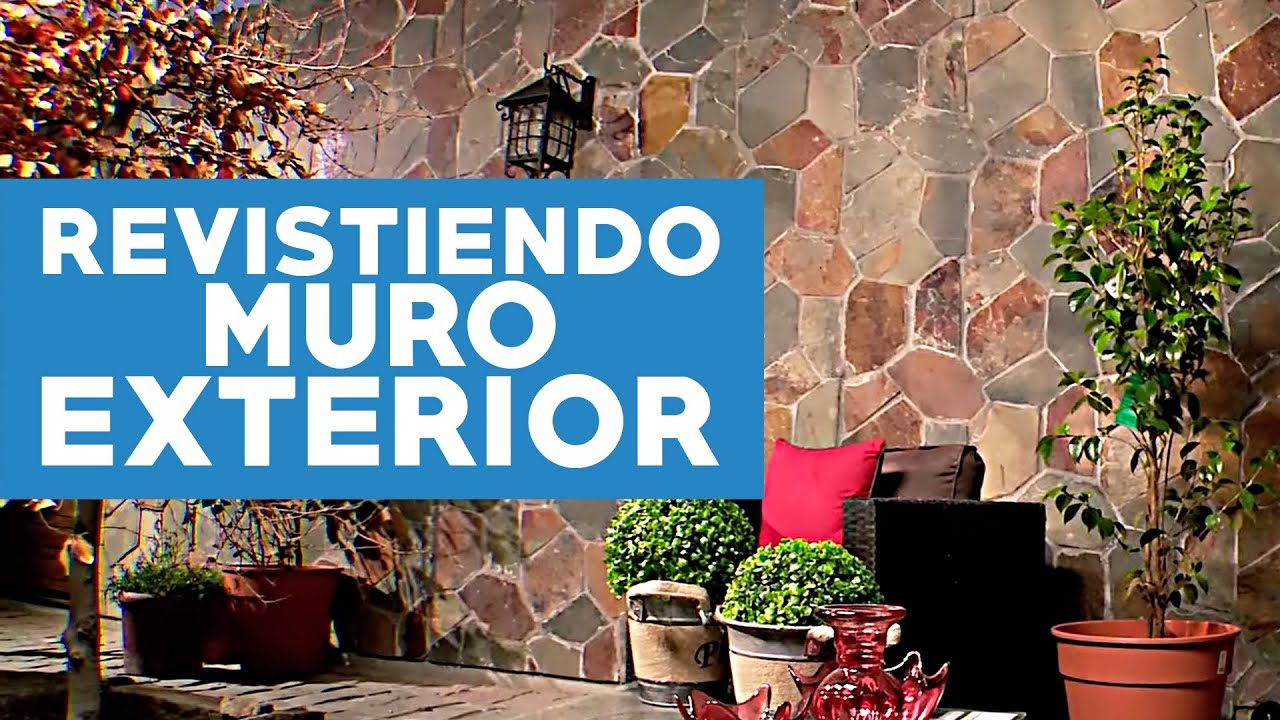 C mo revestir con piedra un muro exterior youtube for Materiales para forrar paredes interiores