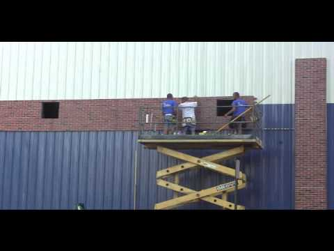 Urestone Faux Brick Installation On Metal Building Youtube