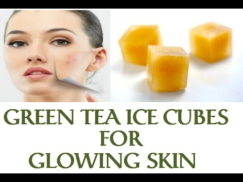 Green tea ice cubes for glowing and acne free face