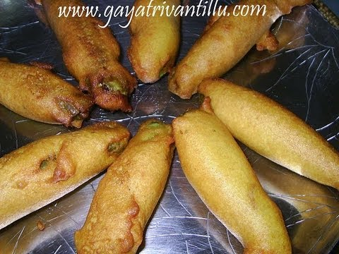 Mirapakaya Bajji - Mirchi Bonda - Snacks - Andhra Cooking Telugu Vantalu Indian Food