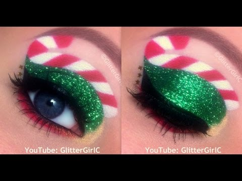 Christmas Makeup Tutorial: Glittery, Candy Cane