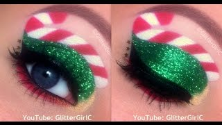 Glittery, Candy Cane, Christmas Makeup Tutorial