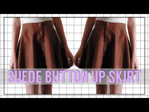 Metal Button Front Suede Skirt // Sewing Tutorial