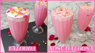 2 Easy Rose Syrup Drink Recipes | Summer Falooda Recipe | Rose Dalgona