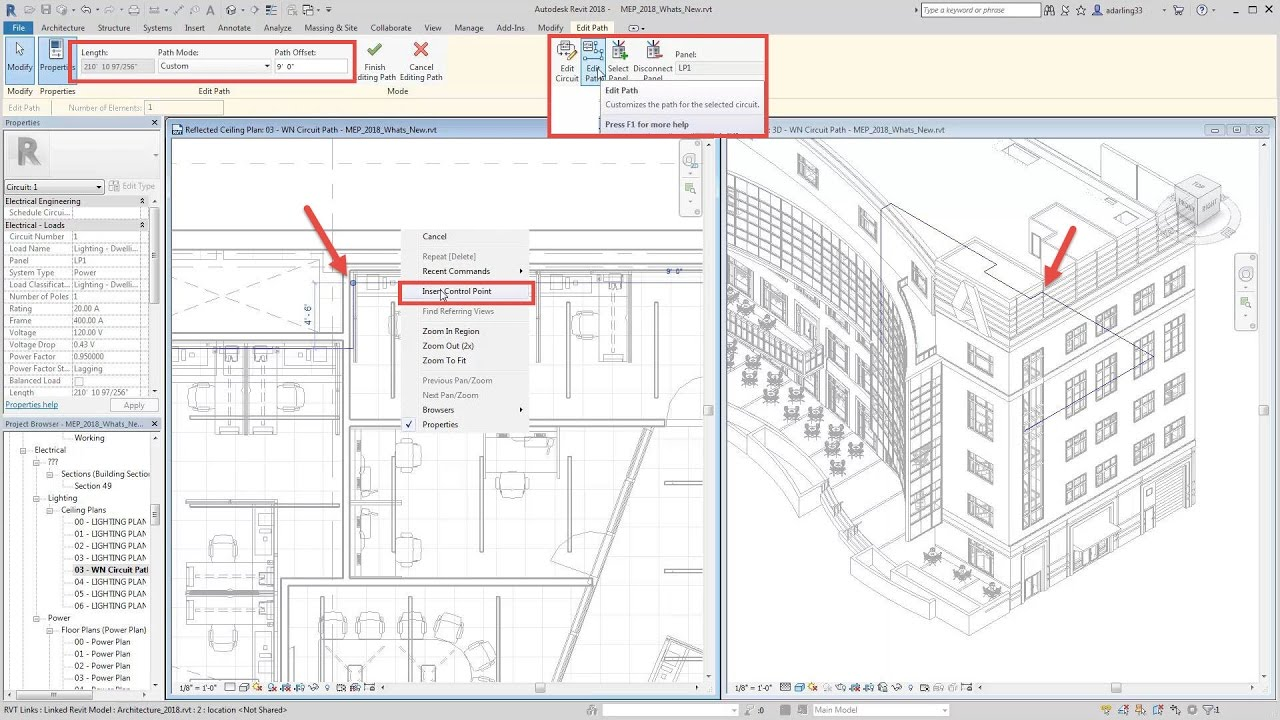 revit 2018 new feature electrical circuit path youtube electrical plan in revit [ 1280 x 720 Pixel ]