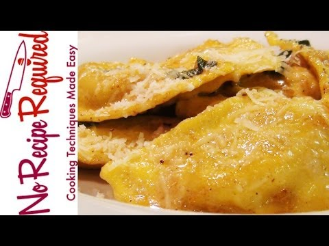 Mushroom Ravioli With Brown Butter Sauce - Pasta Recipes By NoRecipeRequired