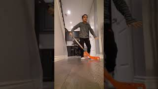 Playing floor hockey (painful)