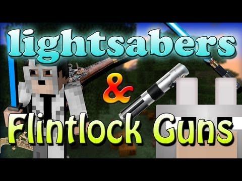 Minecraft Mods - 3D Lightsabers & Flintlock Weapons Mod 1.5 Review And Tutorial