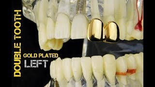 14K Gold Plated Double Tooth Bling Hip Hop Grills Left Side Caps