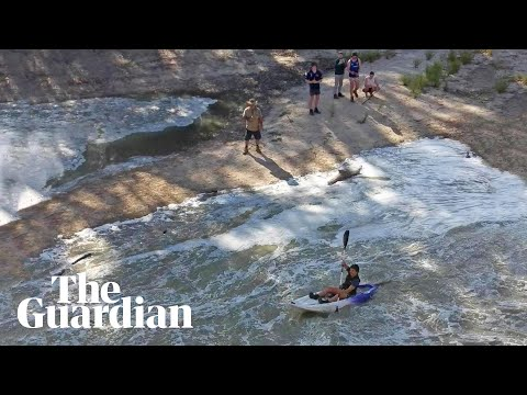 Locals celebrate as waters of Murray-Darling rivers join for first time in two years from YouTube · Duration:  56 seconds