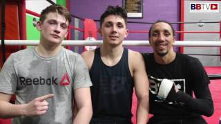 Belfast prospect's Victor Rabei and Tiernan Bradley after sparring Tyrone Nurse