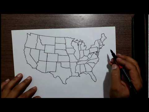 Correct map of USA drawn by hand