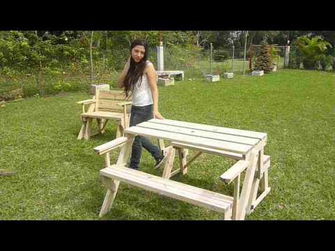 Banca de jardin a mesa de picnic de 2 a 4 personas youtube for Bancas para jardin de madera