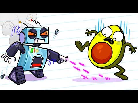 Avocado Escapes From Robots - Cartoon