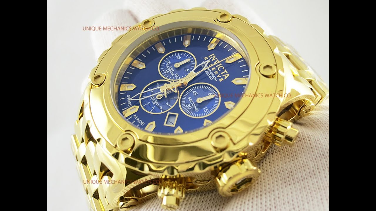 f3d4a074e7d Invicta 14507 Subaqua High Polished Gold Plated Reserve Watch - YouTube