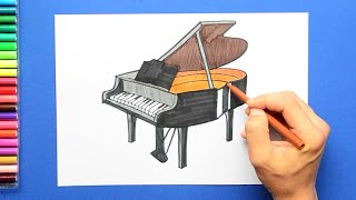 How to draw and color a Grand Piano