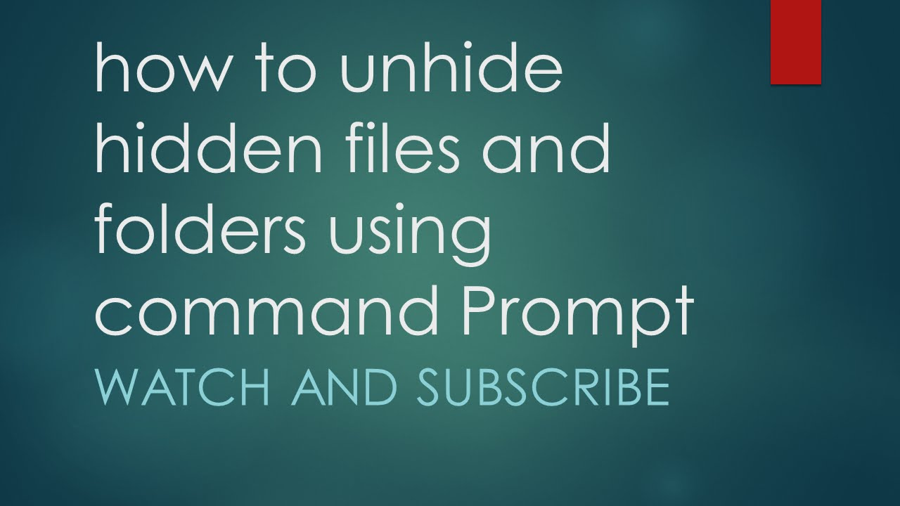 How to unhide hidden files and folder using command prompt [Windows]  [tutorial] [cmd]