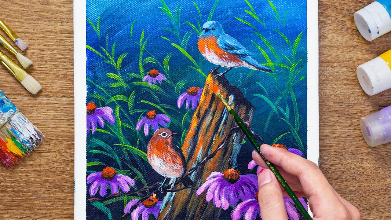 Simple Spring Birds  Landscape Acrylic Painting - Daily Art 107