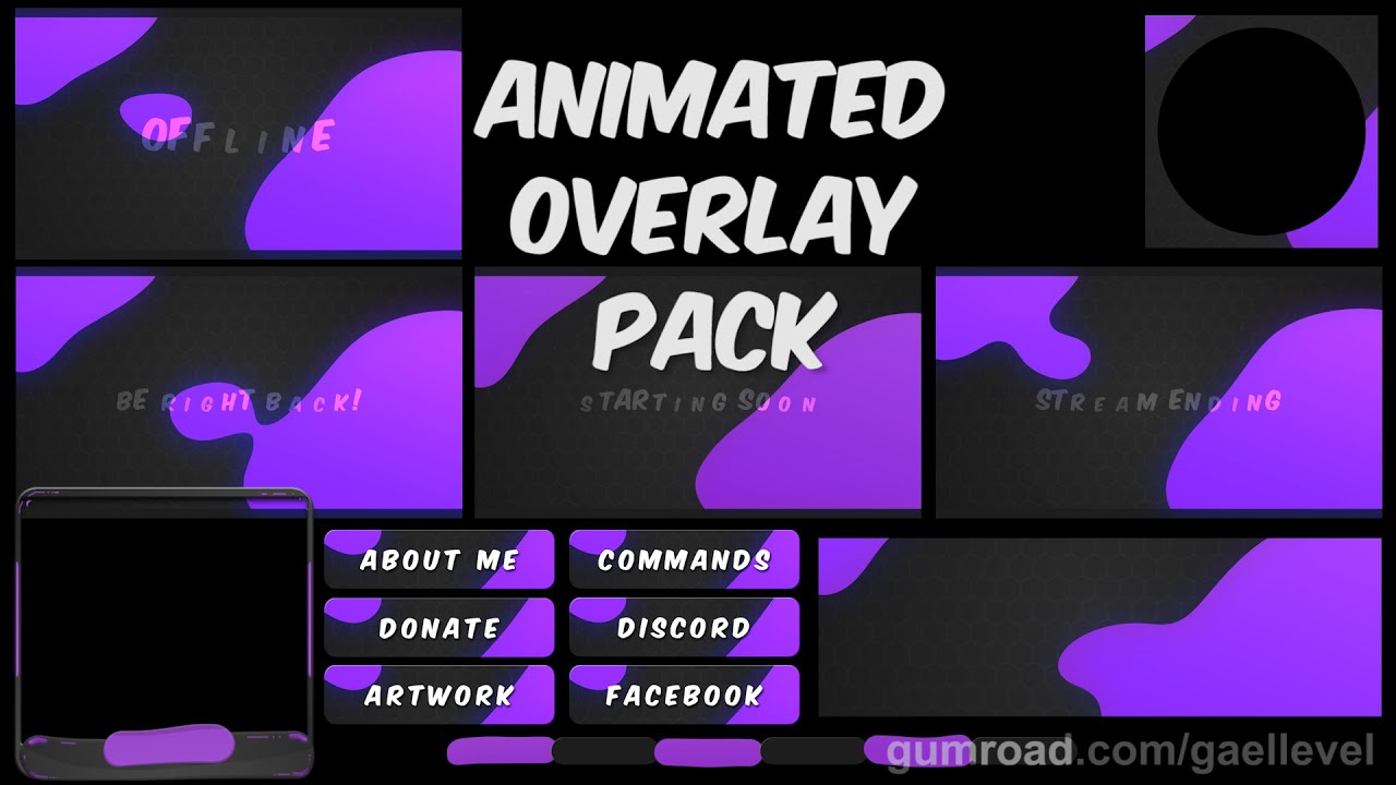 LIQUID a Twitch animated overlay pack (Stream Package)