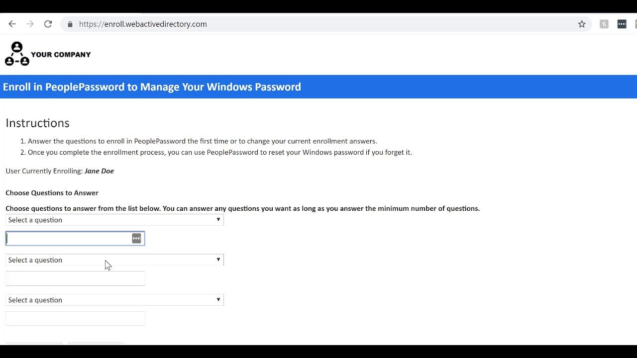 PeoplePassword - Web Active Directory