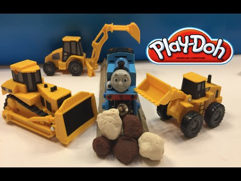 Thomas the Tank Train is stuck in PlayDoh Rocks Mighty Machines come to rescue
