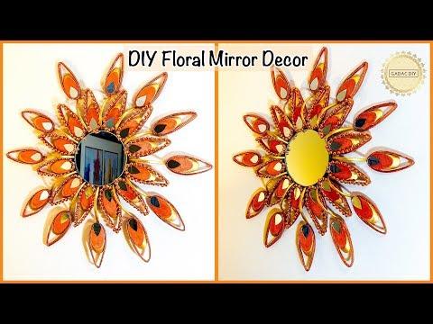 Unique Floral Mirror Decor| gadac diy| Wall decoration Ideas| Wall hanging craft ideas| diy crafts
