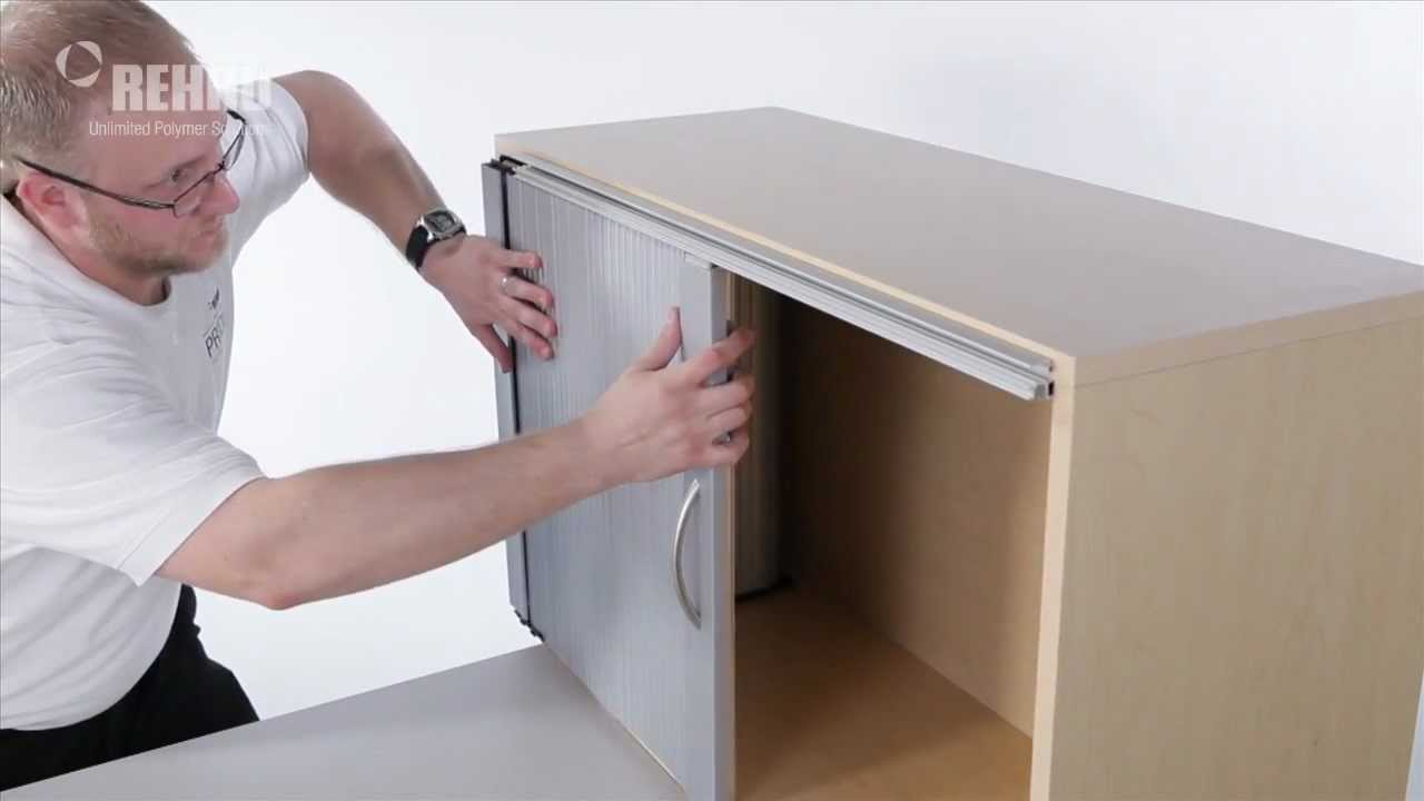 Build sliding cabinet doors - Installing A Single Horizontal Tambour Door With Spiral Track Youtube