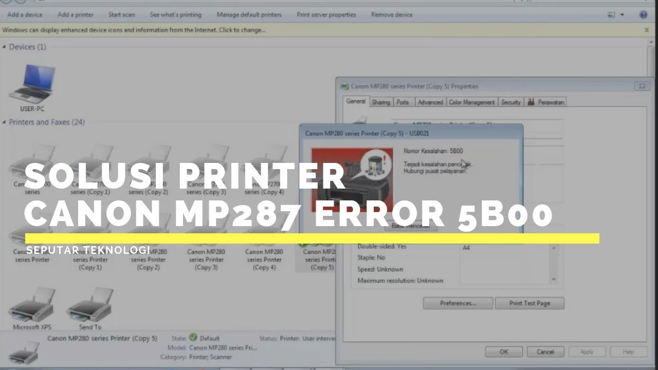 Solusi Printer Canon Mp287 Error 5b00 Youtube