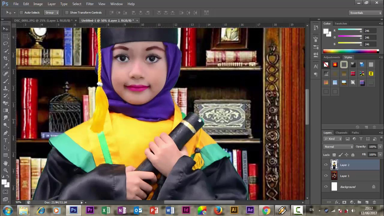 Cara Membuat Foto Background Wisuda - YouTube